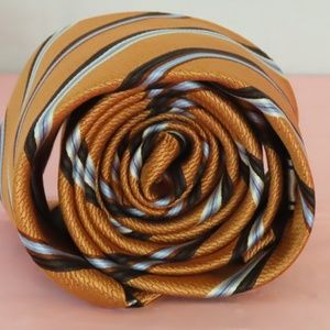Vintage 100% Striped Skinny Silk Tie By Enro